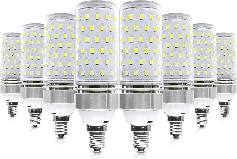 E12 LED Corn Bulbs, 6000K Daylight White, 16W 1500LM Corn Bulb, 120W Incandescent Bulb Equivalent, Non-Dimmable LED Corn Light for Office Garage Home Lighting (8 Pack)