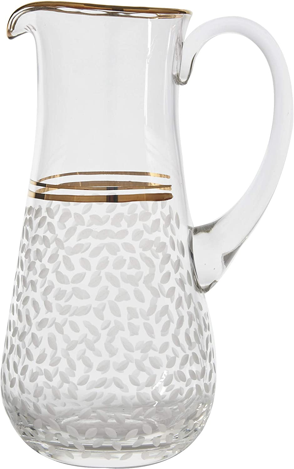 Amazon Com Glazze Crystal Helen Handcrafted Water Pitcher Painted 24k Gold Trim Detailing Hand Cut Raindrops Pattern Ideal Wedding Housewarming Gift 10 H 42 Oz Capacity Carafes Pitchers