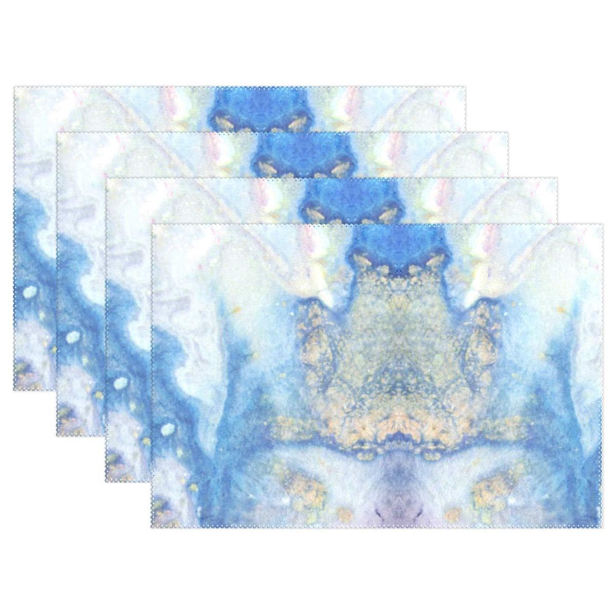 Lambbd Lewissq Abstract Galaxy 大理石 ダイニング 耐熱 プレースマット 汚れにくい 滑り止め 洗濯可能 キッチンテーブルマット 12x18インチ 12x18x4 in ブラック 12x18x4 in  B07L2WJGCG