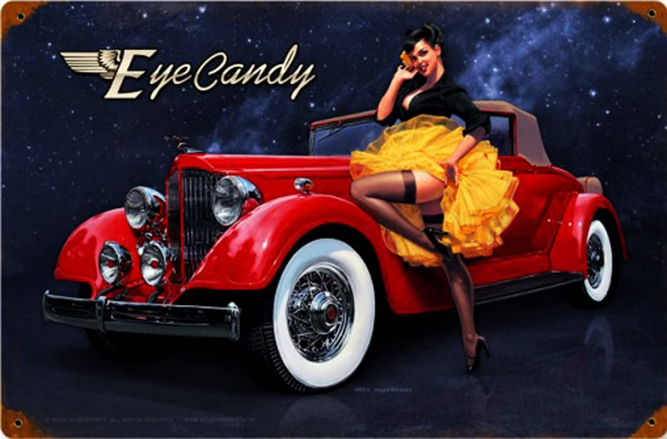 Classic Auto Pin-Up Metal Sign