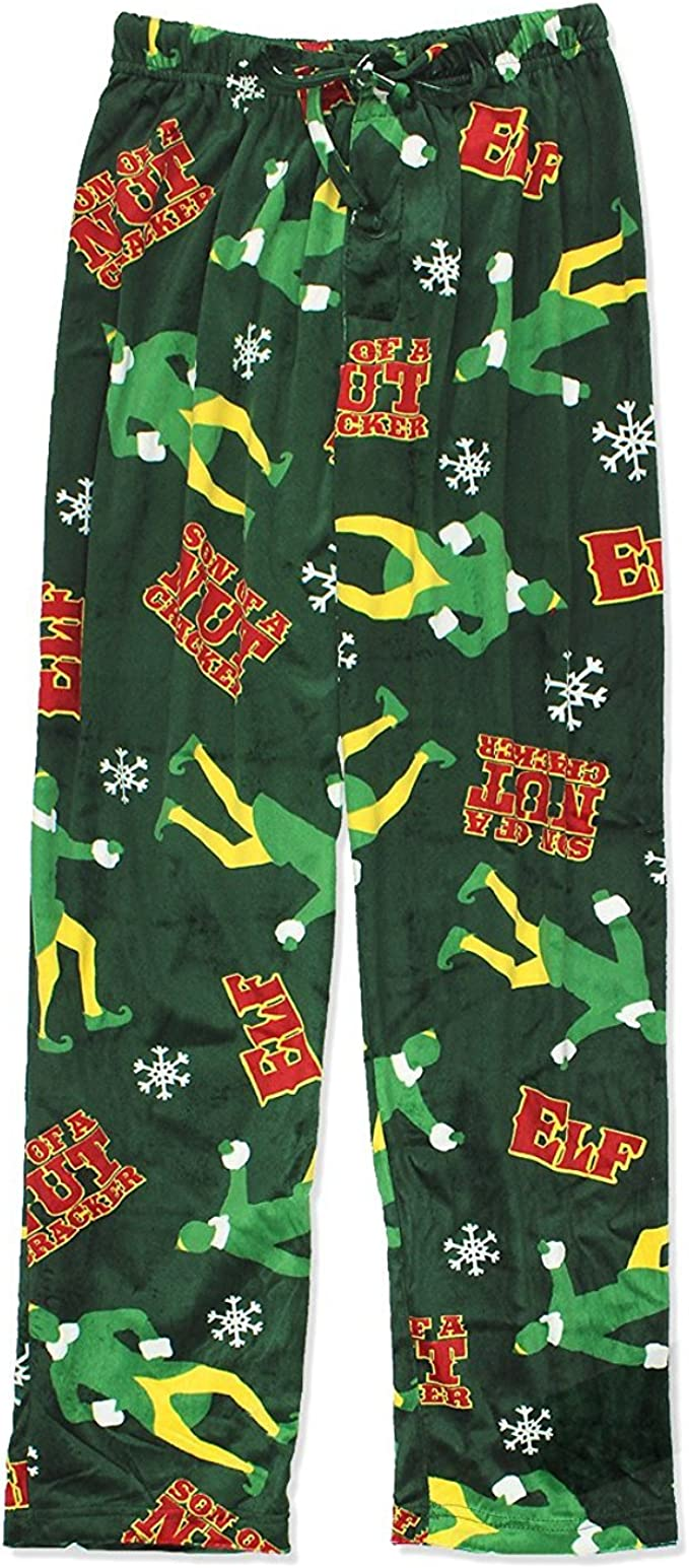Mens Fleece Elf Movie Son of a Nutcracker Christmas Holiday Sleep Lounge Pants