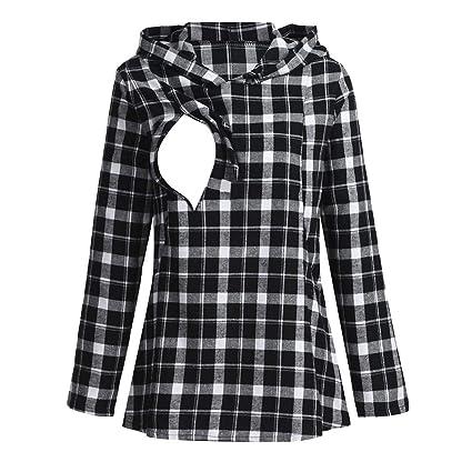 fb91d2e79536f Nacome Breastfeeding Shirt Plaid Long Sleeve Hoodie Maternity  BreastfeedingNursing Medium Black: Amazon.in: Home & Kitchen