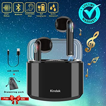 Kindak Inalámbricos Auriculares Bluetooth,Wireless In-Ear Cascos Earbuds con Micrófonos Manos Libres Headset, Mini Headphone Earpods Compatible Apple iOS ...