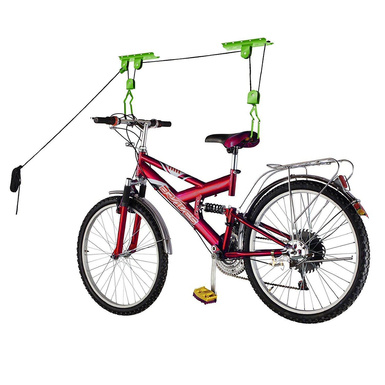 Bike Lane Products Bike Lane Bicycle Storage Lift Bike Hoist 100Lb Capacity Heavy Duty 2 Pack, Green RAD Cycle Products 2011 Bike Lane Two Pack