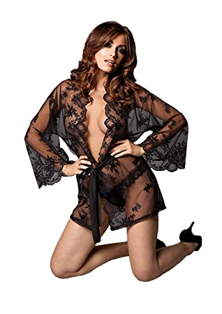 c446e6dfd6ee Kiss Me Women's Grace in Lace Kimono and G-String, Black, Large/Extra Large:  Amazon.co.uk: Health & Personal Care