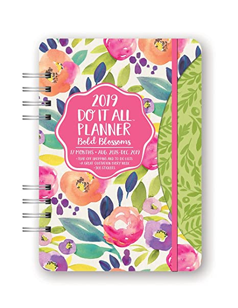 Orange Circle Studio 2019 Do It All Planner, August 2018 - December 2019, Bold Blossoms