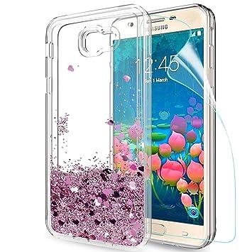 LeYi Compatible con Funda Samsung Galaxy J5 Prime Silicona Purpurina Carcasa con HD Protectores de Pantalla,Transparente Cristal Bumper Fundas Case ...