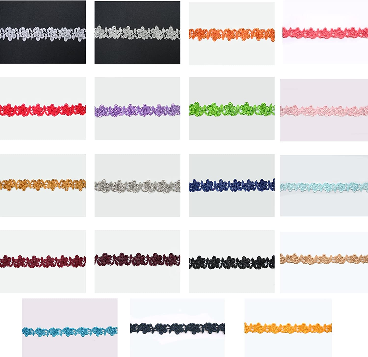 Navy Altotux 3//4 19 Colors Small Floral Embroidered Venice Lace Trim Guipure By 2 Yards