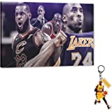 Kobe-MJ-Lebron Canvas Wall Art, Basketball Legend Canvas Painting Sports Star Poster Picture, Black Manba Bryant Flying Man J