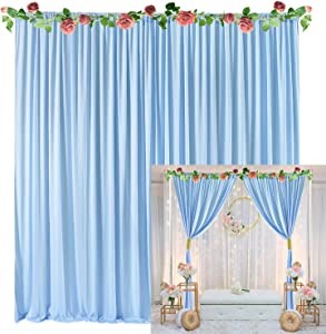 Baby Blue Backdrop Curtain for Baby Shower Weddings Parties Birthday Photography Fabric Drape Backdrop with Golden Curtain Tiebacks 5ft x 10ft (Pack of Two)