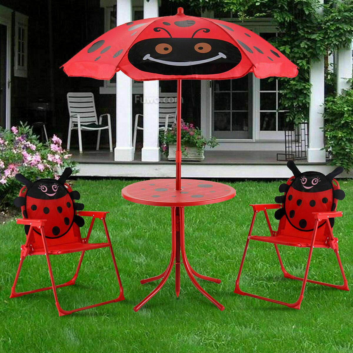 Set of 3 Red Beetle Ladybugs Pattern Kid Chair+Table+Umbrella Patio Garden Backyard Front yard Children Furniture Utility Kid room Foldable Easy Storage Light Weight Trip Party Event Picnic Home by Prettyshop4246 (Image #3)