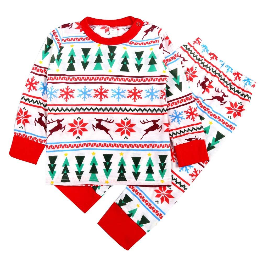 4820b27ced58d Urmagic Vêtements Noël Bébé Assortis Famille 2PCS Ensemble Renne Imprimé À  Manches Longues Papa Maman Bébé Tenues de Nuit d hiver
