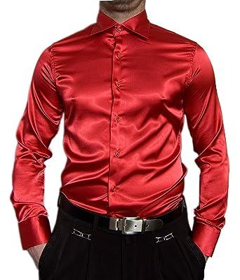 Pierre Martin Designer Herren Glanz Hemd Slim Fit tailliert bügelleicht  langarm Glanzhemd eng geschnitten bunt  Amazon.de  Bekleidung 30f914cce6