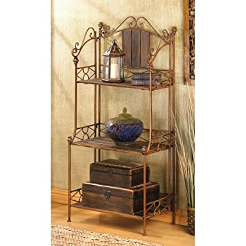 Bakers Rack, Industrial Kitchen Rustic Bakers Rack Metal With Storage  (brown)