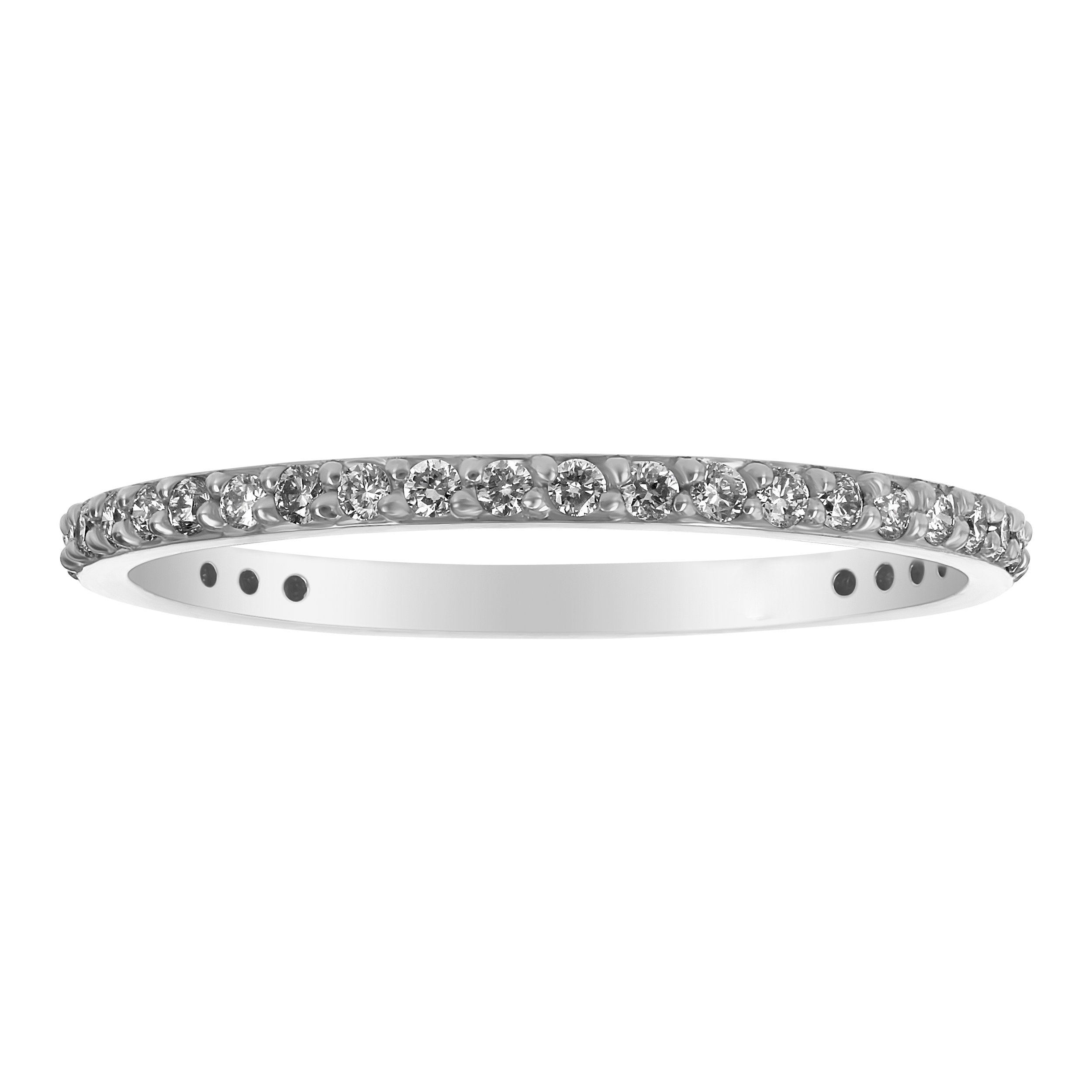 Olivia Paris 14k White Gold Diamond Eternity Wedding Band Ring for Women (1/3 cttw, H-I, SI1-SI2) Size 6