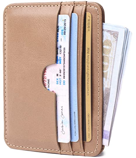 f831eb6ab5c8 Genuine Leather Card Case Wallet Slim Super Thin Credit Card Holder 6 Card  Slots Small Compact