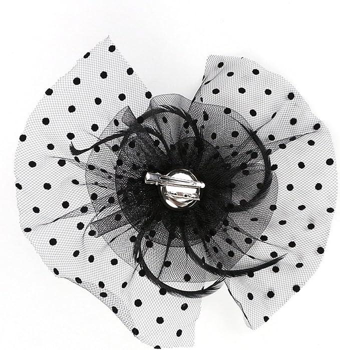 EXCHIC Femmes Oiseau Cage Maille Fleur Plume Net Fascinator Chapeau Bride Casques