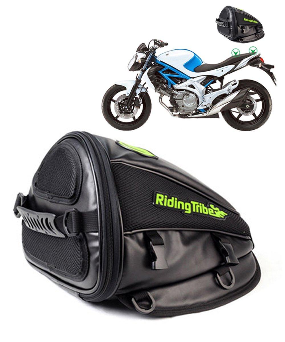 Motorcycle Back seat Bag, Hkim Waterproof Motorcycle bag, Motorbike Tail Bag Rear Seat Storage Bag for Honda Yamaha Suzuki Kawasaki Harley, Black, 4 Liter Capacity