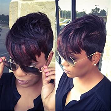 Amazon Com Cyjgaf Short Pixie Cut Synthetic Wig With Bangs For
