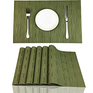 Red-A Placemats Set of 6 for Dining Table Heat-Resistant Washable Place Mats Woven Vinyl Kitchen Table Mats Easy to Clean,Green