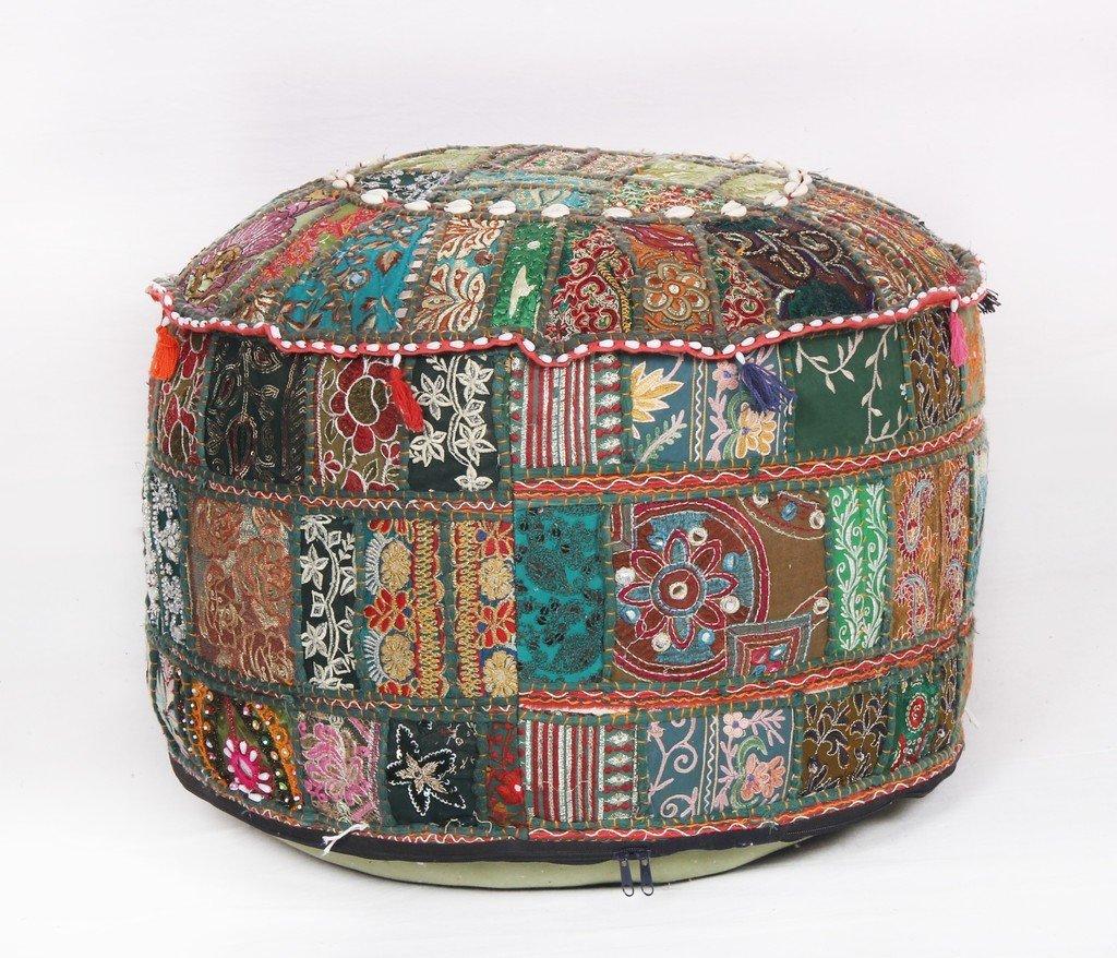 Bohemian Pouf Ottoman Green Patchwork Indian Pouf Vintage Seat Pouffe Jaipur Textile Hub
