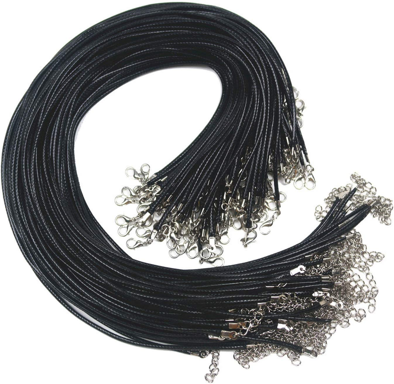 BLACK 2MM NECKLACE WAXED CORD STRING WITH LOBSTER CLASP 18 INCHES