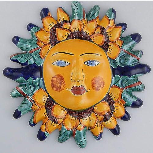 Mexican Talavera Ceramic Sun Face Wall Decor Hanging Pottery Folk Art 12
