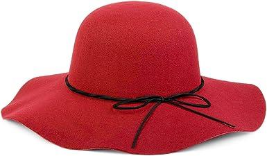 Hut Damen 04025008 styleBREAKER Floppy Fedora Filzhut mit schmalem Zierband und Schleife aus Filz