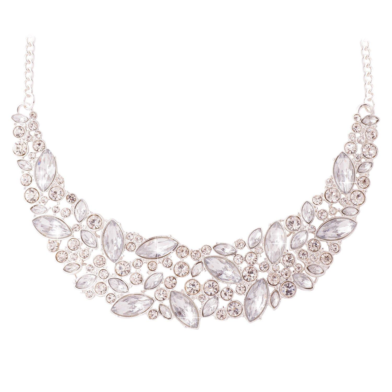 Jane Stone Fashion Statement Necklace Bling Rhinestone Choker Collar Chunky Jewelry for Women(Fn1054-Silver)
