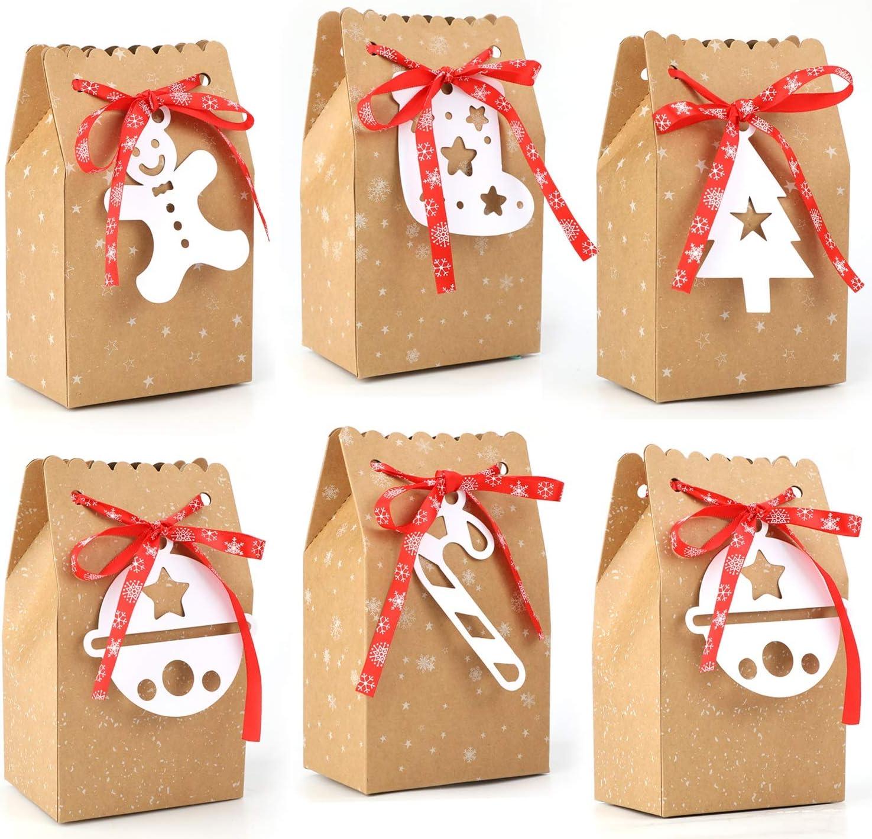HOWAF 24 Piezas Cajas Bolsas de Regalo de Papel para Calendario de Adviento Boda Navidad Fiestas Cumpleaños Comida Caramelos Dulces Galletas Chocolates