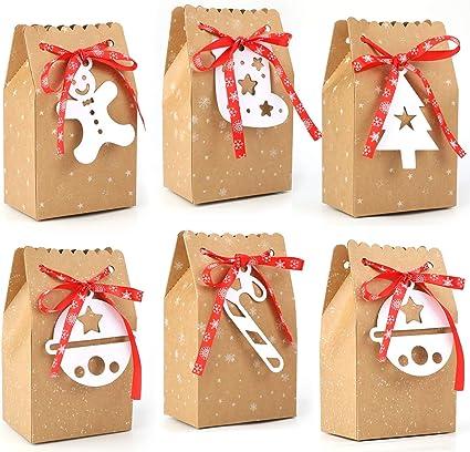 24 Pezzi Scatole Caramelle di Natale Scatole in Carta Regalo Scatole Regalo di Natale Sacchetto di Caramelle di Natale Scatole Regalo di Natale Scatole Scatolette Caramelle Cioccolatini per Festa