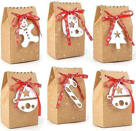 Gwhole 24 Bo/îtes Cadeau No/ël Motif Sapin Bonhomme de Neige Arbre de No/ël pour Pomme Fruit Chocolat Bonbons Biscuits et Petits Cadeaux 10 x 10 x 10 cm