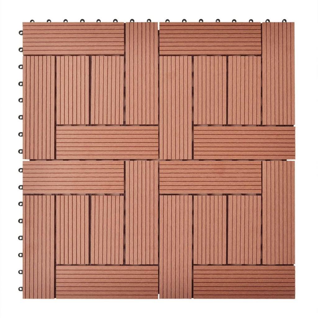 vidaXL 11 pcs WPC Decking Tiles Wood Plastic Composite Boards 11.8''x11.8'' Brown