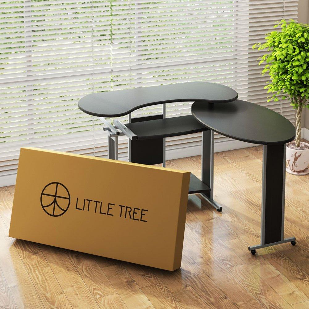 more photos 62538 afac2 Details about LITTLE TREE Rotating Corner Desk L-Shaped Computer Desk  Workstation Office NEW