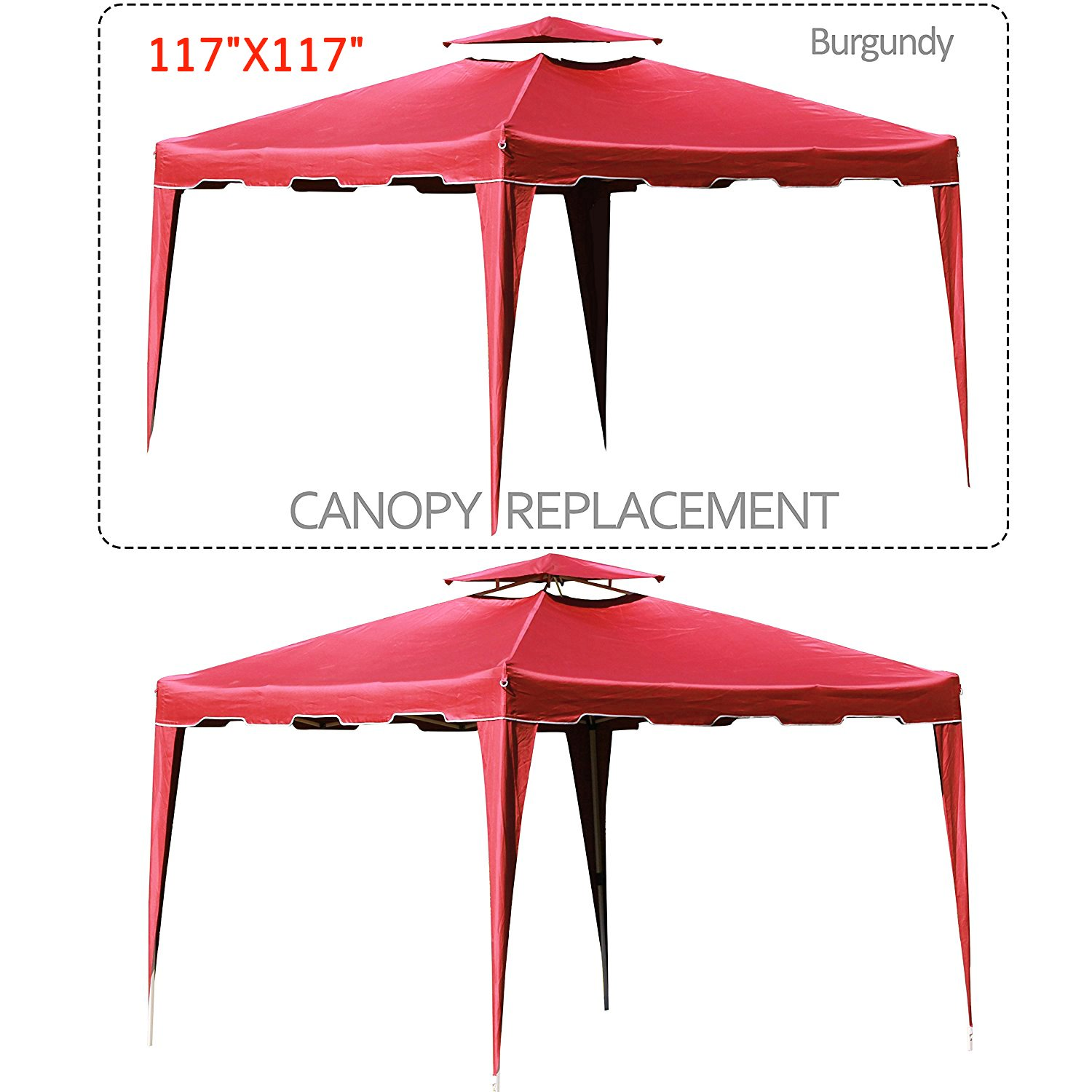 Cloud Mountain 117'' X 117'' Gazebo Replacement Canopy Top Cover, 2-tier UV Protect Resist Light Rain for Outdoor Patio Lawn Sun Shade Tent, Burgundy (Only Replacement Cover) by Cloud Mountain