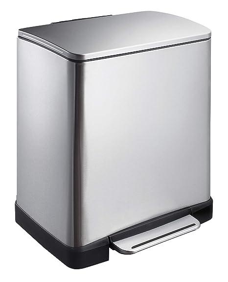 EKO VB 926820 - Cubo de la basura con pedal, (20 l, acero inoxidable mate, profundidad tapa 10.2