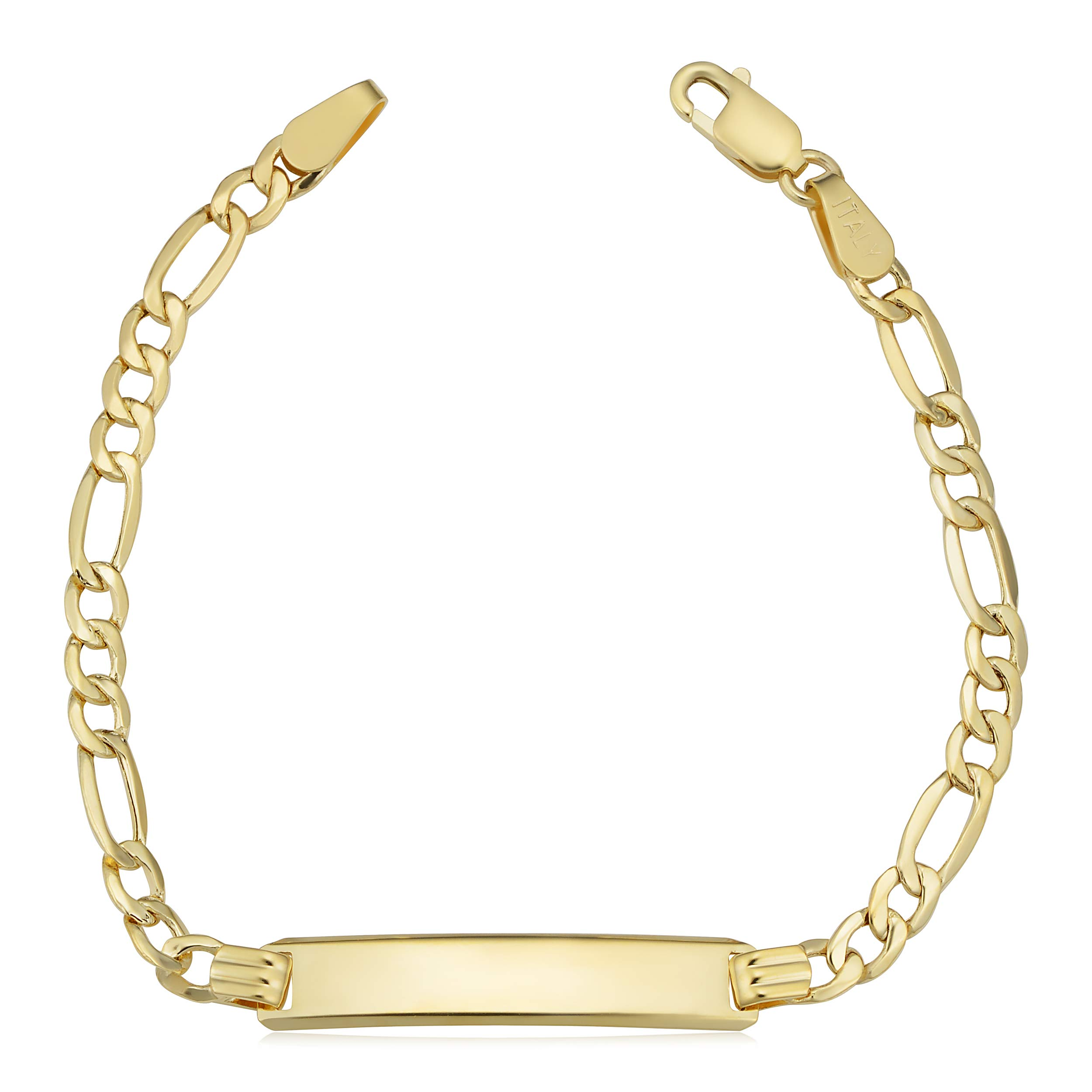 Kooljewelry 14k Yellow Gold High Polish Figaro ID Bracelet (5.5 inch) by Kooljewelry