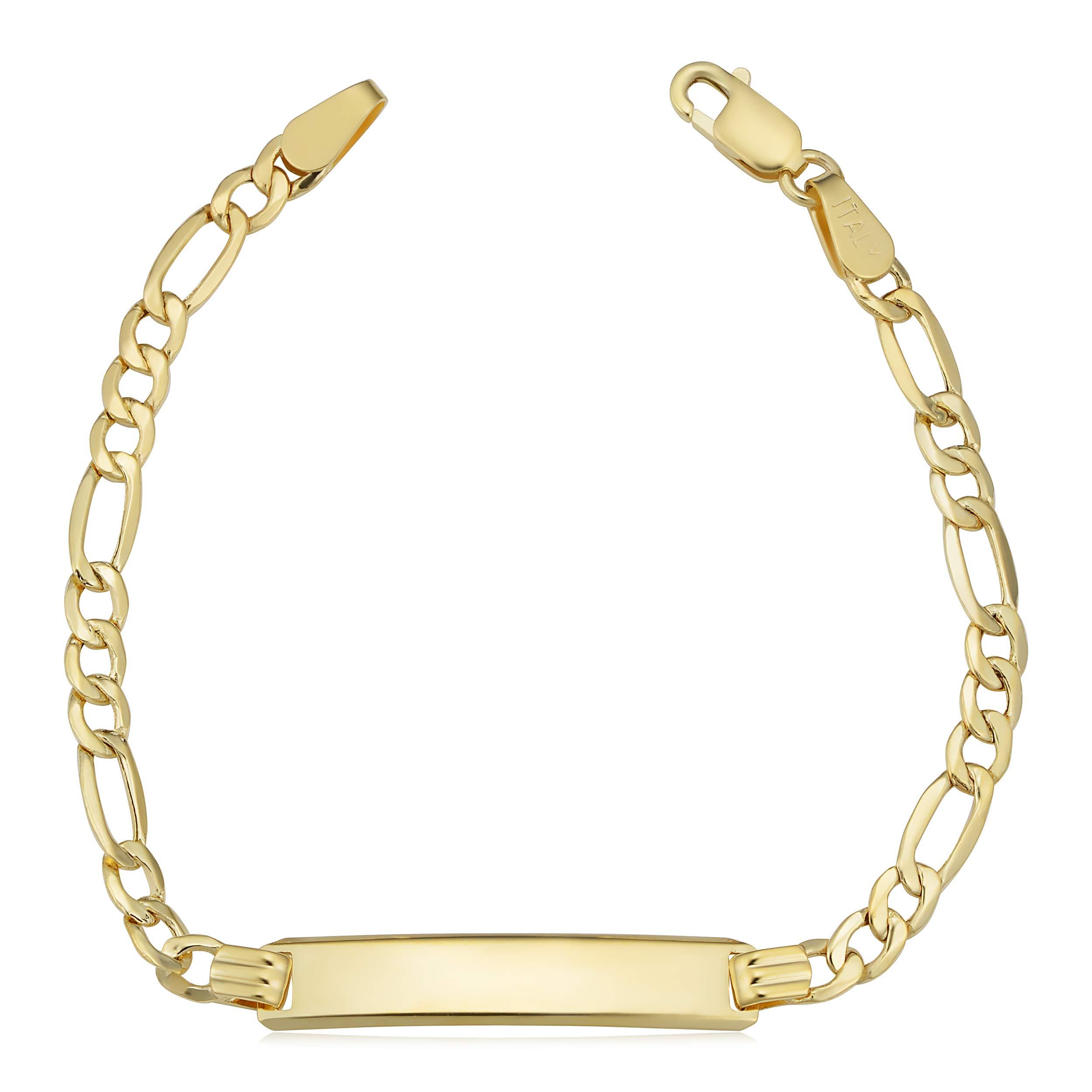 14k Yellow Gold High Polish Figaro ID Bracelet (5.5 inch)