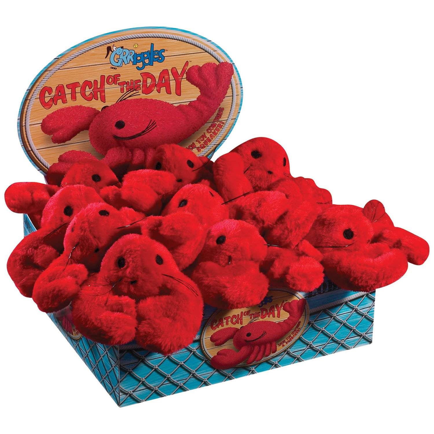 Grriggles Catch of the Day Lobster Dog Toy Display, 12-Pack