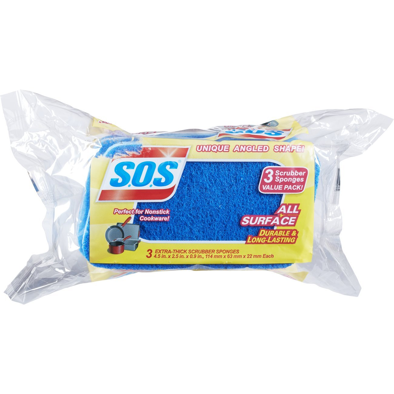 S.O.S All Surface Scrubber Sponge, 3 Count