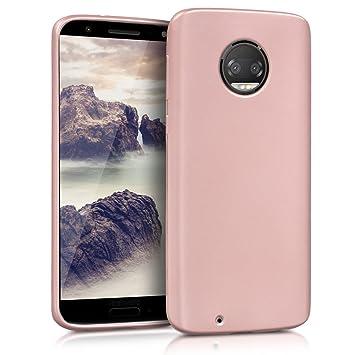 kwmobile Funda para Motorola Moto G6 - Carcasa para móvil en [TPU silicona] - Protector [trasero] en [oro rosa metalizado]