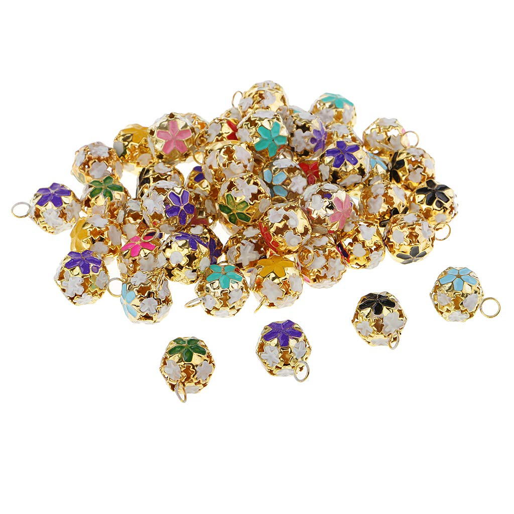 Baosity 50 Pieces Assorted Color Flower Hollow Copper Loose Metal Beads Jingle Bells Pendants Charms for Christmas Decoration DIY Crafts Handmade Accessories