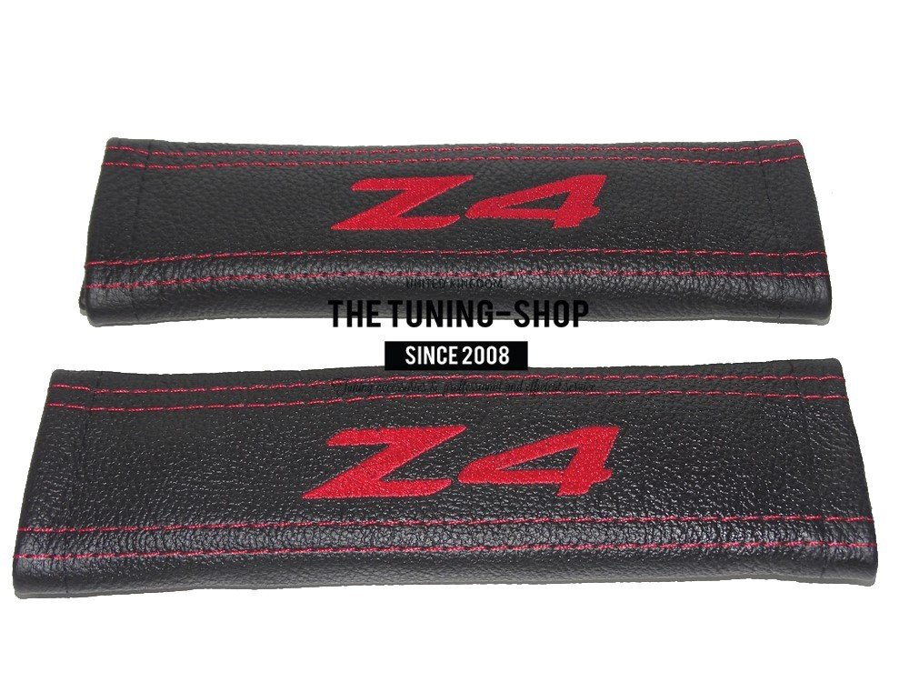 2 x Seat Belt Covers Pads Black Leather Red Embroidery The Tuning-Shop Ltd