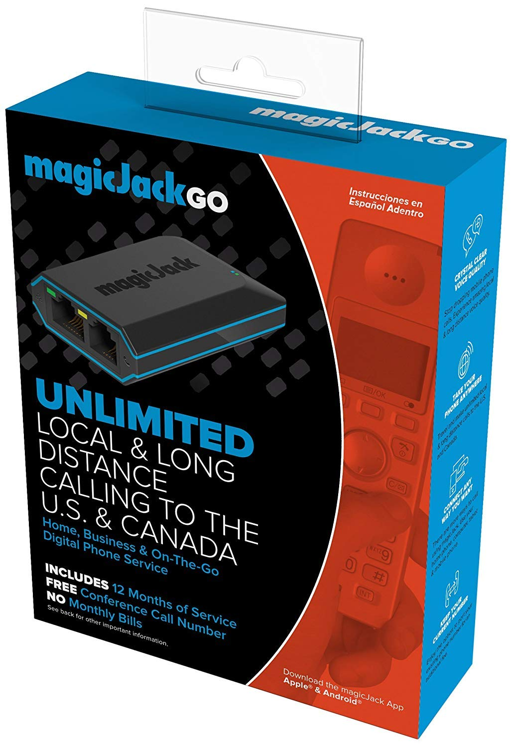 magicJackGO 2017 VOIP Phone Adapter Portable Home and On-The-Go Digital Phone Service. Make Unlimited Local & Long Distance Calls to The U. S. and Canada. NO Monthly Bill. 2017 (1 Pack) by magicJack