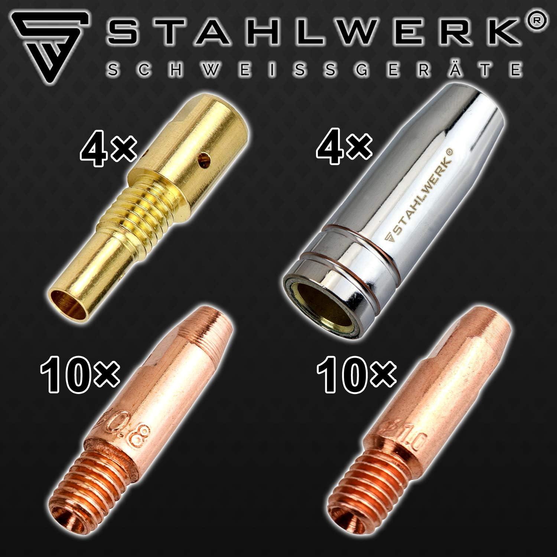 STAHLWERK MIG MAG AK-25//MB-25 Juego de accesorios de soldadura piezas de desgaste, boquillas de gas, soporte para boquillas y boquillas para quemador de soldadura MIG MAG, 28 piezas