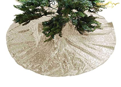 Shinybeauty Champagne Gold Sequin Christmas Tree Skirt 21inch Light Gold Christmas Tree Skirt For Christmas Holiday Party Decoration 0918s