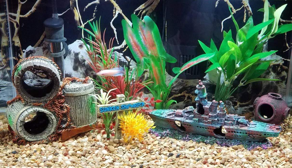 SLOME - Adornos para Acuario con diseño de pecera, Material de Resina, decoración de Barco hundido, ecológicos para acuarios de Agua Dulce y Agua Salada: ...