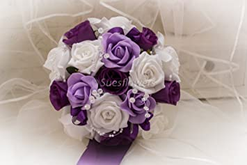 Wedding flowers bridesmaid bouquet in purple lilac and white amazon wedding flowers bridesmaid bouquet in purple lilac and white junglespirit Images