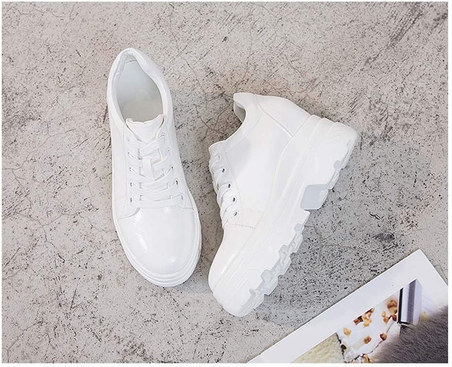 Hopsd Baskets Femme Talon Compensé Chaussures Simples en Dentelle Augmentation Interne Tête Ronde White