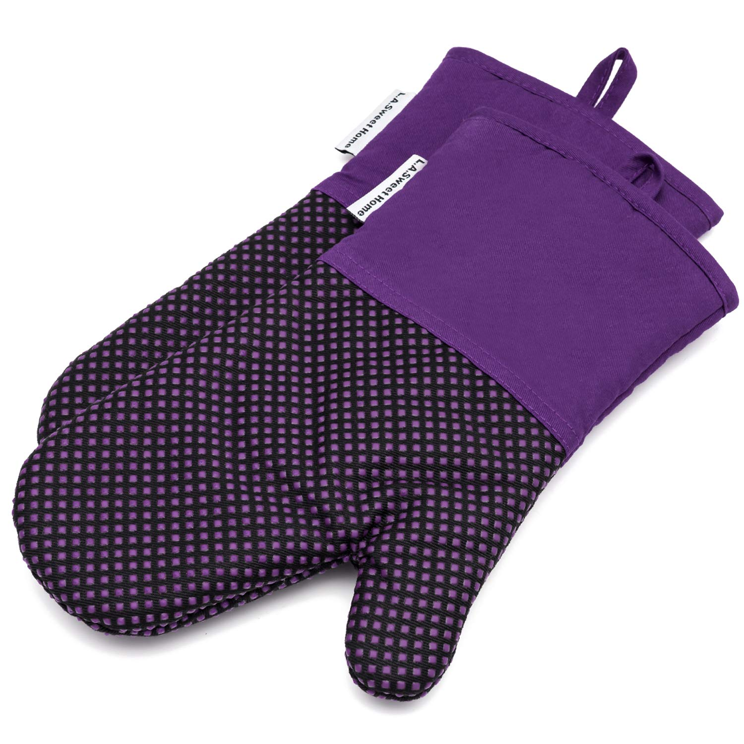 Silicone Oven Mitts 464 F Heat Resistant Potholders Dot Pattern Cooking Gloves Non-Slip Grip for Kitchen Oven BBQ Grill Cooking Baking 7x13 inch as Christmas Gift 1 pair (Purple) LA Sweet Home